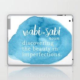 Wabi Sabi Word Nerd Definition - Blue Watercolor Laptop & iPad Skin