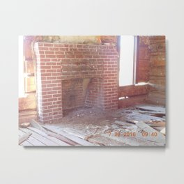 road trip, old cabin interior, fire place Metal Print