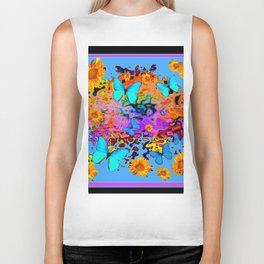 Black Decorative Blue Butterflies Floral Art Biker Tank