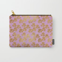 Pink and Faux Gold Foil Roses Carry-All Pouch