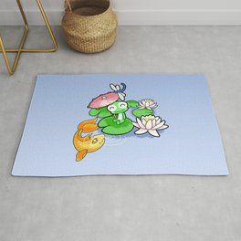 The Frog, The Fish and The Water Lilies Rug