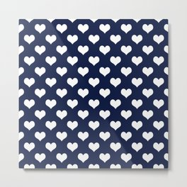Indigo Navy Blue Hearts Metal Print