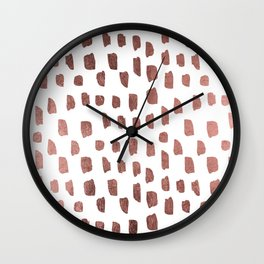 Trendy white faux rose gold brushstrokes pattern Wall Clock
