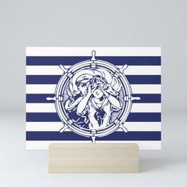 Sail Away With Me | Sailing Couple | Nautical | Blue and White Stripes | Mini Art Print