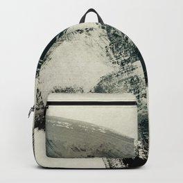 abstract art brush stroke beige teal black Backpack