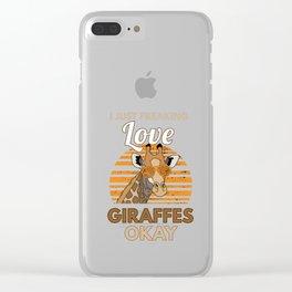 I Love Giraffes Retro Long Neck Animals Wildlife Safari Zookeeper Gift Clear iPhone Case