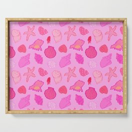 Simply Seashells Toss in Tonal Pink Serving Tray