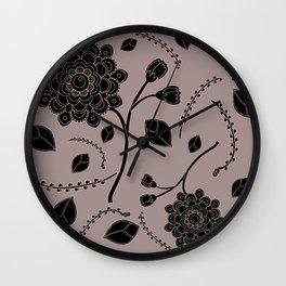 Gray Flying Flowers Wall Clock