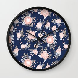 Floral bouquet pastel navy pink florals painted painted metallic pattern basic minimal pattern print Wall Clock