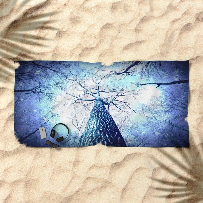 Winter's Coming : Wintry Trees Galaxy Skies Beach Towel