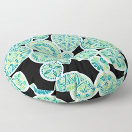 Many Mandalas Inverted Sea Tones Floor Pillow