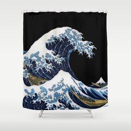"Hokusai,""The Great Wave off Kanagawa""_black background Shower Curtain"