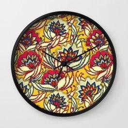 Vintage Lotus Flowers Wall Clock