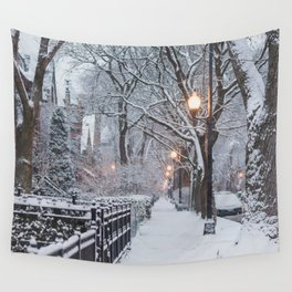 An Urban Snow Day Wall Tapestry