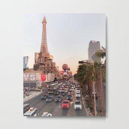 Las Vegas Sunset Photo Print | Eiffel Tower Paris City Art | Nevada Roads Travel Photography Metal Print