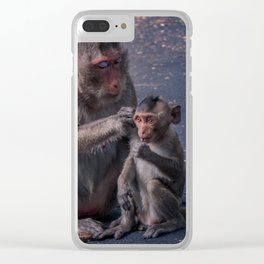 Mother and Baby Macaque Monkey Clear iPhone Case