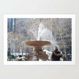 Bryant Park Fountain With Tourist Art Print
