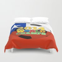 chile Duvet Covers featuring 2014 World Champs Ball - Chile by crouchingpixel