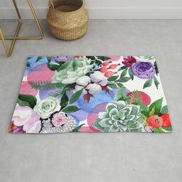Stunningly Exquisite Watercolor Floral Print Rug