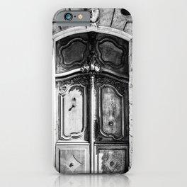 Doorway | Hotel de La Grange Nimes France Vintage Rustic Old World Black and White Architecture iPhone Case