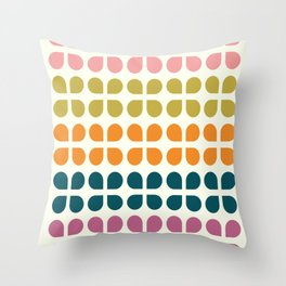 Retro '70s Geometric Leaves Throw Pillow