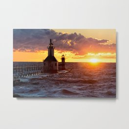 St. Joseph Lighthouses At Sunset Metal Print