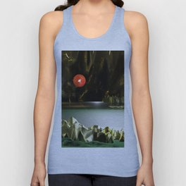 3d Modeling Cave Lake with Red Sun Unisex Tank Top