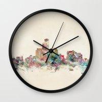 milwaukee Wall Clocks featuring milwaukee wisconsin skyline by bri.buckley