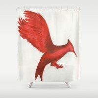 mockingjay Shower Curtains featuring Mockingjay CatchingFire by Blanca MonQnill Sole