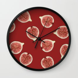 Figs Slices Food pattern red  Wall Clock
