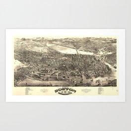 Vintage 1880 Bird's Eye View of Boston, Massachusetts from original 1880 lithograph Art Print