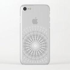 Gray White Mandala Clear iPhone Case