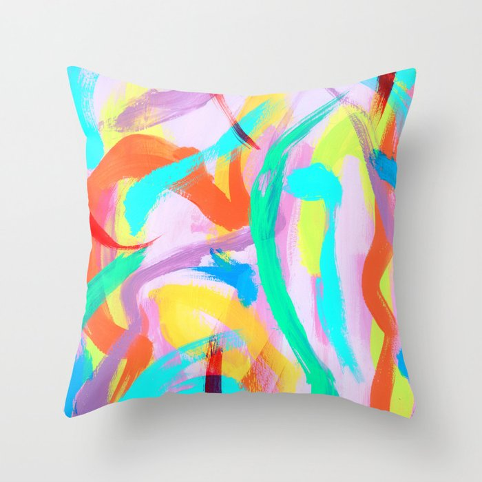 DANCE ALL NIGHT Colorful Modern Art Bright Color Abstract Painting  Contemporary Throw Pillow
