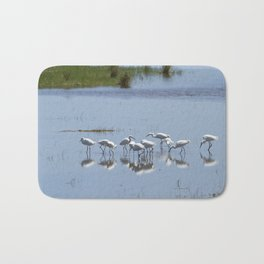 Flock of Snowy Egrets at Chincoteague No. 1 Bath Mat