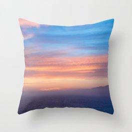 Blue Dreams Sunset - Ocean Sunset, Landscape, Scenery, Beautiful Orange Yellow Throw Pillow