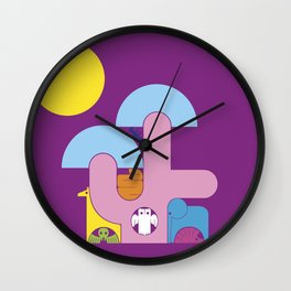 Abstract cartoon animal characters. Tree in the savannah with animals Wall Clock