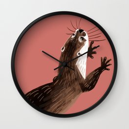 Asian small-clawed otter Coral pink Wall Clock