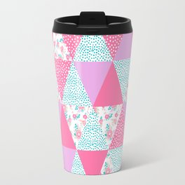 Bright quilt triangle cheater quilt pattern florals modern color palette gifts for nursery Travel Mug