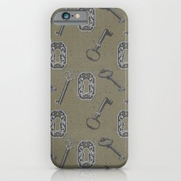 antique key pattern green iPhone Case