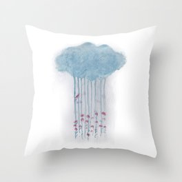 Rain in the woods Throw Pillow