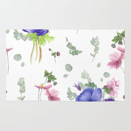 Blue and pink anemones Rug