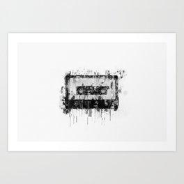 cassette / tape Illustration black and white painting Art Print