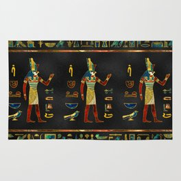 Egyptian  Gold, Teal and Red  glass pattern Rug