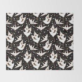 Origami Crane Metamorphosis (Noir) Throw Blanket