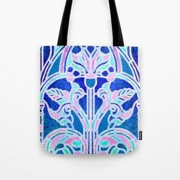 Art Nouveau Blue and Pink Batik Texture Tote Bag