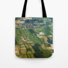 aerial view fields british countryside map pattern Tote Bag