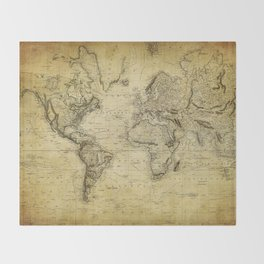 World Map 1814 Throw Blanket