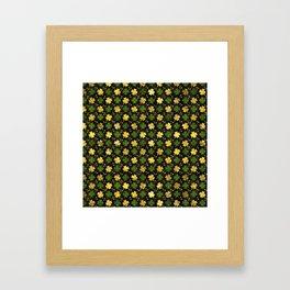 Irish Shamrock Four-leaf clover  Gold black Framed Art Print