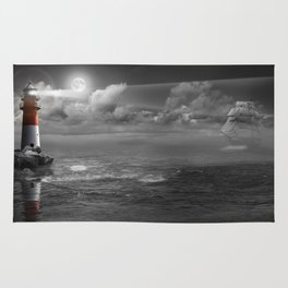 Lighthouse and Sailboat under moonlight Rug
