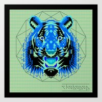 thundercats Art Prints featuring Geometric Tiger by chobopop